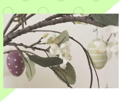 Pomarańczowa Niebieska Jajka Liście Wielkanocna Kartka (4)